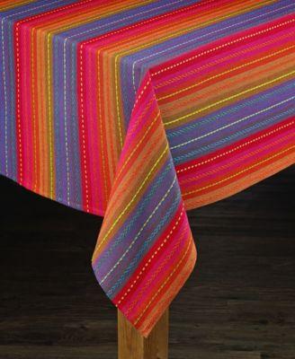 Phoenix Striped Dobby Cotton Textured Tablecloth