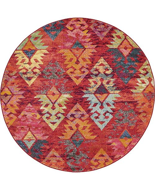 Bridgeport Home CLOSEOUT! Arcata Arc1 Rust Red 6' x 6' Round Area Rug