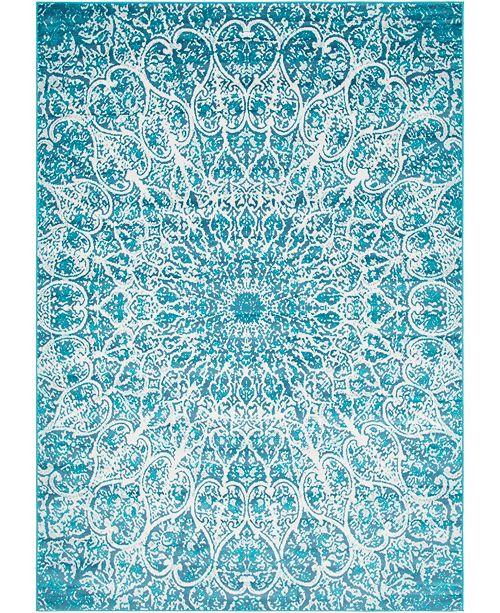 Bridgeport Home Basha Bas4 Turquoise 7' x 10' Area Rug