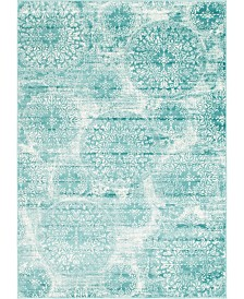 Bridgeport Home Basha Bas7 Turquoise 7' x 10' Area Rug