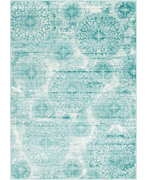 Bridgeport Home Basha Bas7 Turquoise 7' x 10' Area Rug