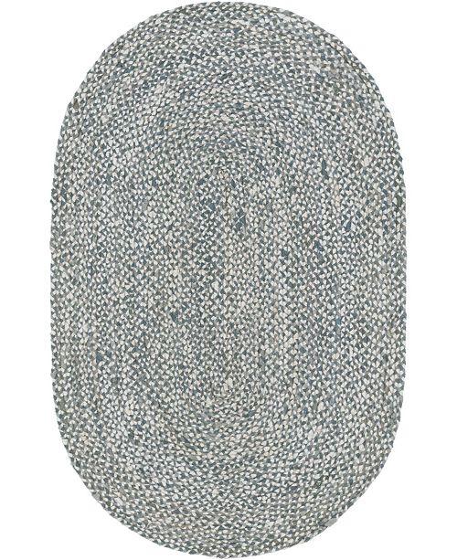 Bridgeport Home Roari Cotton Braids Rcb1 Gray 5' x 8' Oval Area Rug