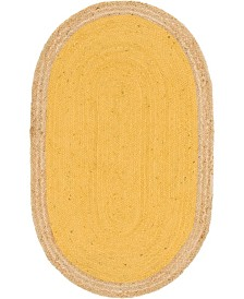 "Bridgeport Home Braided Jute A Bja4 Yellow 3' 3"" x 5' Oval Area Rug"