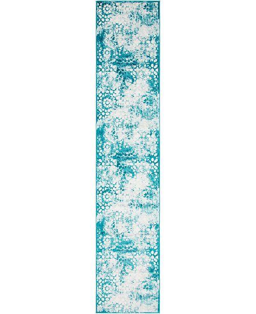 """Bridgeport Home Basha Bas5 Turquoise 3' 3"""" x 16' 5"""" Runner Area Rug"""