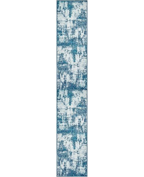 "Bridgeport Home Basha Bas6 Blue 3' 3"" x 19' 8"" Runner Area Rug"