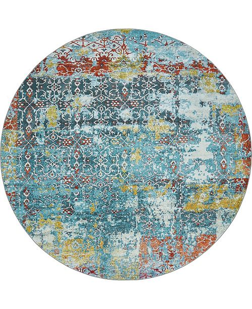 "Bridgeport Home Kenna Ken8 Teal 8' 4"" x 8' 4"" Round Area Rug"