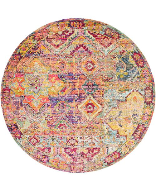 Bridgeport Home Newhedge Nhg7 Multi 8' x 8' Round Area Rug