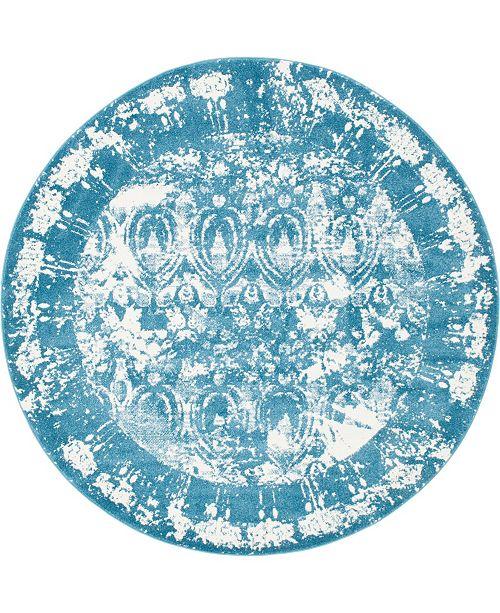 Bridgeport Home Mishti Mis3 Blue 8' x 8' Round Area Rug