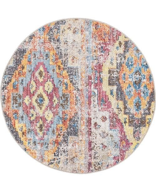 "Bridgeport Home Nira Nir2 Multi 3' 3"" x 3' 3"" Round Area Rug"