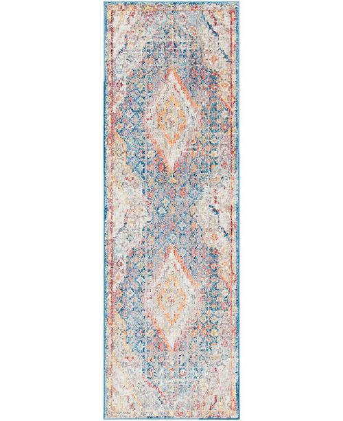"Bridgeport Home Zilla Zil1 Blue 2' 7"" x 8' 2"" Runner Area Rug"