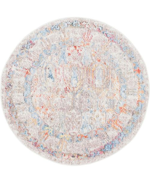 "Bridgeport Home Zilla Zil2 Ivory 3' 3"" x 3' 3"" Round Area Rug"