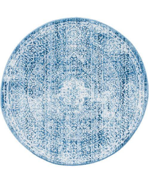"""Bridgeport Home Zilla Zil3 Navy Blue 3' 3"""" x 3' 3"""" Round Area Rug"""