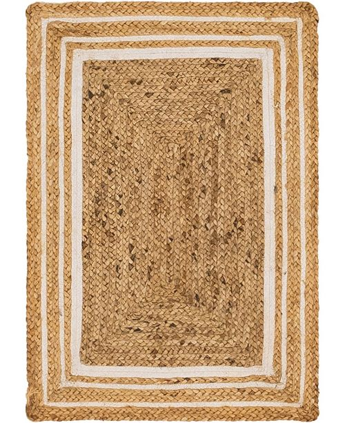 Bridgeport Home Braided Border Brb1 Natural/White 2' x 3' Area Rug