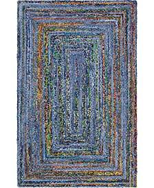Bridgeport Home Roari Braided Chindi Rbc1 Blue/Multi 5' x 8' Area Rug