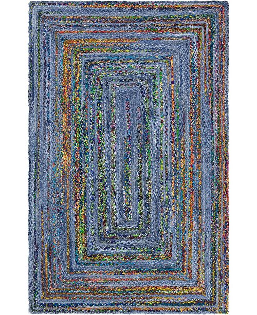 Bridgeport Home Roari Braided Chindi Rbc1 Blue/Multi 5' x 8' Area Rug