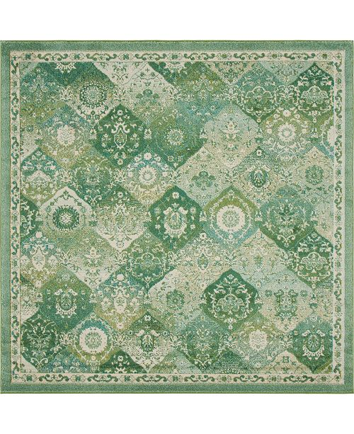 Bridgeport Home Lorem Lor2 Green 8' x 8' Square Area Rug