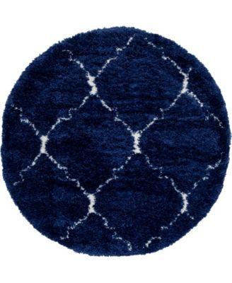 Fazil Shag Faz5 Navy Blue 5' x 5' Round Area Rug