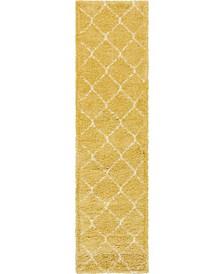 """Fazil Shag Faz5 Yellow 2' 7"""" x 10' Runner Area Rug"""