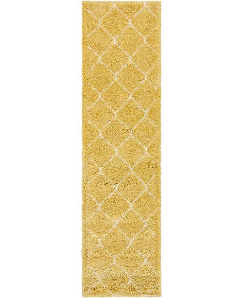 """Bridgeport Home Fazil Shag Faz5 Yellow 2' 7"""" x 10' Runner Area Rug"""