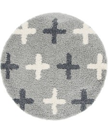"Bridgeport Home Lochcort Shag Loc7 Light Gray 3' 3"" x 3' 3"" Round Area Rug"