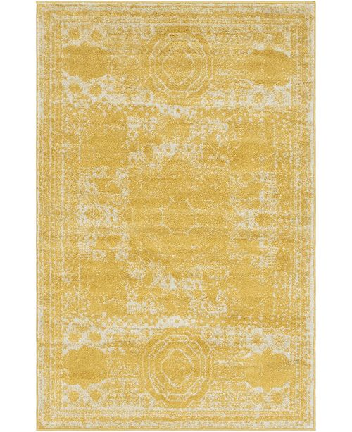 Bridgeport Home Mobley Mob2 Yellow 4' x 6' Area Rug