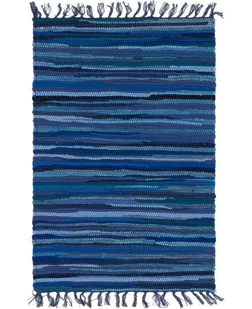 "Bridgeport Home Jari Striped Jar1 Navy Blue 2' 2"" x 3' Area Rug"