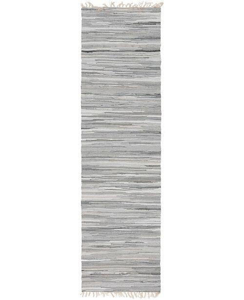 "Bridgeport Home Jari Striped Jar1 Gray 2' 7"" x 9' 10"" Runner Area Rug"