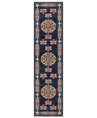 "Sahil Sah4 Navy Blue 2' 7"" x 10' Runner Area Rug"