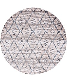 "Levia Lev2 Beige/Gray 8' 4"" x 8' 4"" Round Area Rug"