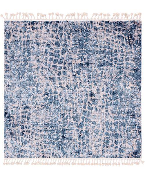 """Bridgeport Home Levia Lev3 Blue 7' 7"""" x 7' 7"""" Square Area Rug"""