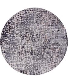 "Levia Lev3 Gray 8' 4"" x 8' 4"" Round Area Rug"