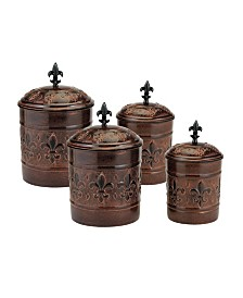 "Old Dutch International ""Versailles"" Canister Set with Fresh Seal Covers, 4 Piece"