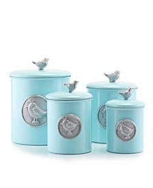 "International ""Lauren Bluebird"" Canister Set with Fresh Seal Covers, Set of 4"