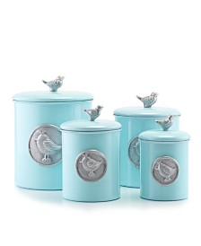 "Old Dutch International ""Lauren Bluebird"" Canister Set with Fresh Seal Covers, Set of 4"