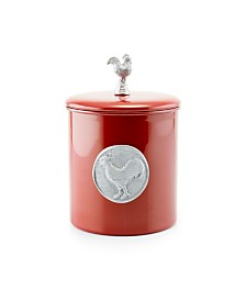 "Old Dutch International ""Red Rooster"" Cookie Jar with Medallion and Knob, Fresh Seal Cover, 4-Quart"
