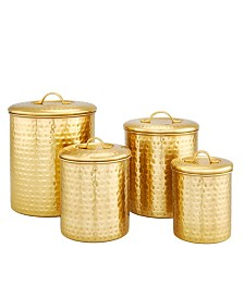 "Old Dutch International Decor Champagne ""Hammered"" Storage Canister Set, 4 Piece"