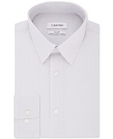 Calvin Klein Men's STEEL Classic/Regular Fit Non-Iron Performance Stretch White Print Dress Shirt