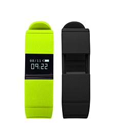iFitness Activity Tracker with Lime Green Strap and Bonus Black Strap