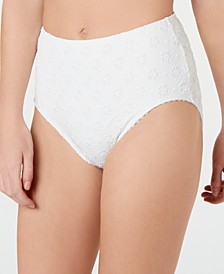 Embroidered Eyelet High-Waist Bikini Bottoms