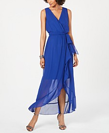 Surplice High-Low Maxi Dress