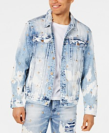 Men's Lancaster Skull Studded Destroyed Denim Jacket