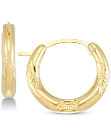 Diamond Accent Patterned Hoop Earrings in 14k Gold Over Resin, Created for Macy's
