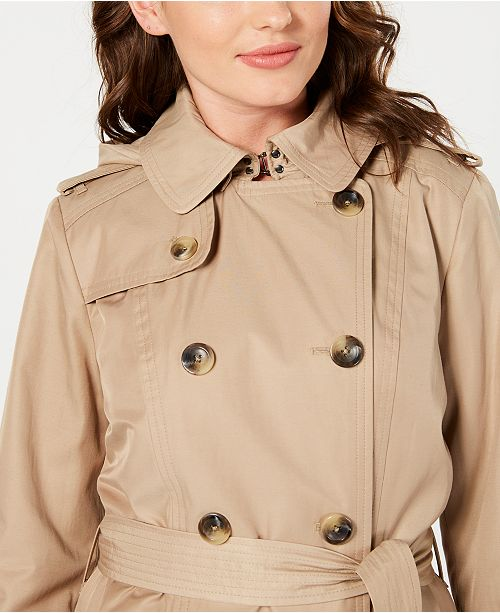 501f325ee1bc5 London Fog Double-Breasted Water Resistant Hooded Trench Coat, Created for  Macy's ...