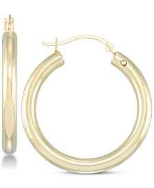 Signature Gold Diamond Accent Polished Hoop Earrings in 14k Gold Over Resin, Created for Macy's