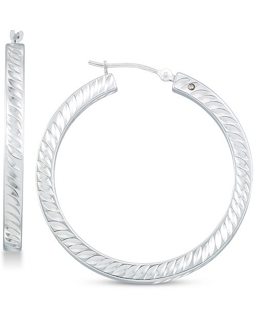 Signature Gold Diamond Accent Twist-Pattern Round Hoop Earrings in 14k White Gold Over Resin or 14k Gold Over Resin, Created for Macy's