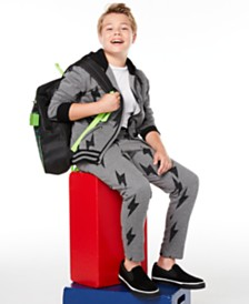 Epic Threads Big Boys Lightning Bolt Full-Zip Hoodie & Sweatpants, Created for Macy's & Bioworld 5-Pc. Minecraft Backpack Set