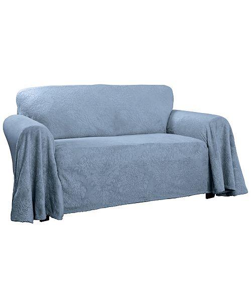 P/Kaufmann Home Plush Damask Throw Chair Slipcover