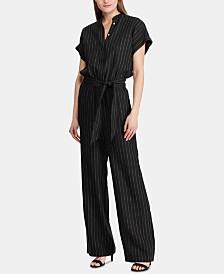 Lauren Ralph Lauren Pinstripe-Print Short-Sleeve Jumpsuit