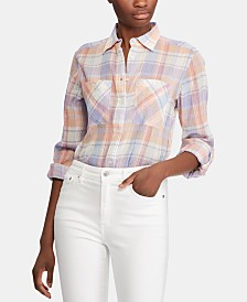 Lauren Ralph Lauren Plaid-Print Roll-Tab Long-Sleeve Cotton Shirt