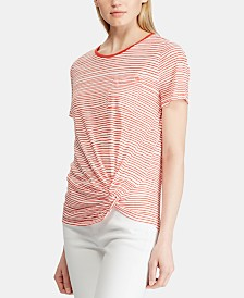 Lauren Ralph Lauren Stripe-Print Twist-Knot T-Shirt